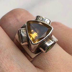 Jewelry - Sterling silver ring Sz 7 citrine & peridot